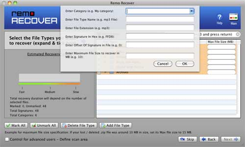 File Recovery Software for Mac - Choose File type you want to recover