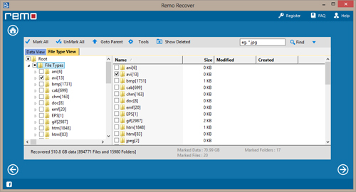 Lost File Recovery Software - Found Files Screen