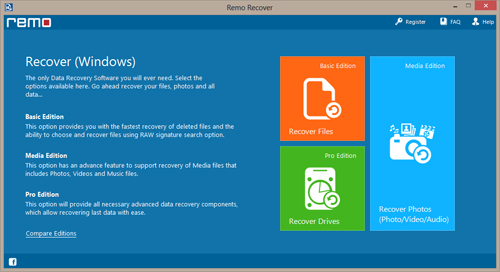 File Recovery software - Main Screen
