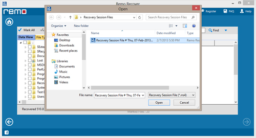 Lost File Recovery Software - Restore Screen